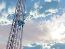Empty sky elevator concept on the sky clouds background concept composition Stock Image