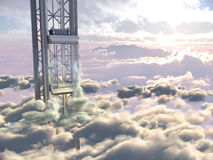 Empty sky elevator concept on the sky clouds background concept composition Royalty Free Stock Photos