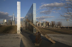 Empty Sky: Jersey City 9/11 Memorial at sunset shows iron beam from W.T.C., New Jersey, USA royalty free stock photos