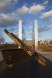 Empty Sky: Jersey City 9/11 Memorial at sunset shows iron beam from W.T.C., New Jersey, USA Stock Photos