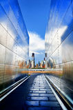 Empty Sky Memorial with World Trade Center's Freedom Tower. View from within the Empty Sky Memorial found at New Jersey's Liberty State Park. Empty Sky is the Royalty Free Stock Image
