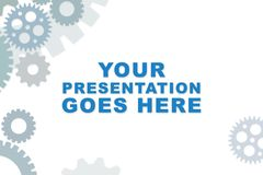 Empty slideshow template in blue with empty space for wording or text. stock photo