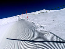Empty slope. With safety barrier, prepared for skiers Stock Images