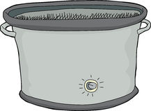 Empty Slow Cooker. Single hand drawn empty electric slow cooker Stock Photos