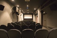 Empty small cinema auditorium Royalty Free Stock Photo