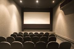 Empty small cinema auditorium Royalty Free Stock Photos