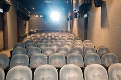 Empty small cinema auditorium Stock Photo
