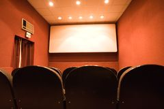Empty small cinema auditorium Royalty Free Stock Images