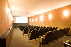 Empty small cinema auditorium Royalty Free Stock Image
