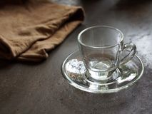 Empty small glass cup for espresso coffee. Cafe Royalty Free Stock Photos