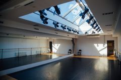 Empty small hall with mirror for dance classes stock images