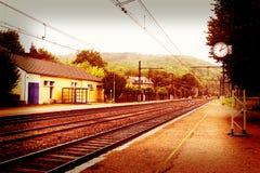 Empty small railway station Royalty Free Stock Photo