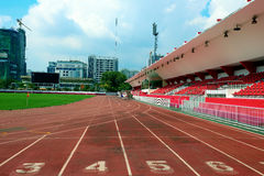 The empty small stadium and running track Royalty Free Stock Photos