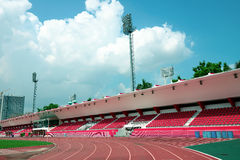 The empty small stadium and running track Royalty Free Stock Images