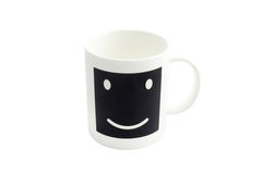 Empty  smile coffee cup or smile coffee mug isolated on white ba Stock Photos