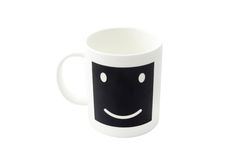 Empty  smile coffee cup or smile coffee mug isolated on white ba Royalty Free Stock Photos