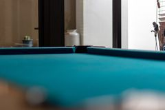 Empty snooker table and corner view with hole. Empty billiard po royalty free stock photos