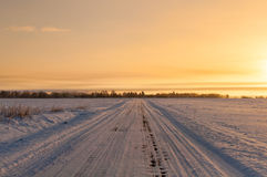 Empty snow covered road in winter landscape Royalty Free Stock Images