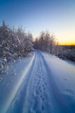 Empty snow covered road winter landscape Royalty Free Stock Image