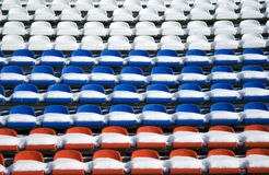 Empty snow-covered stands of the stadium Royalty Free Stock Photos