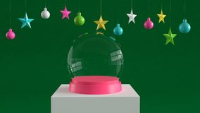 Empty snow glass ball with pink tray on white podium on green canvas background with hanging colorful balls and stars ornaments. For new year or Christmas Royalty Free Stock Images