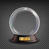 Empty Snow Globe Vector. Shadows, Reflection And Lights. Glass Sphere On A Stand. Isolated On Transparent Background Royalty Free Stock Photos