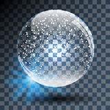 Empty Snowy Glass Ball on Transparent Stock Photo
