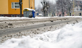 Empty snowy road. In city with no cars Royalty Free Stock Image