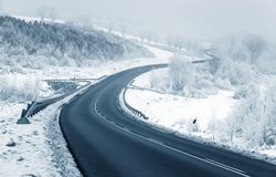 Snowy road in winter Stock Images