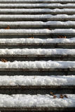 Empty snowy slippery stairway - close up Stock Photography