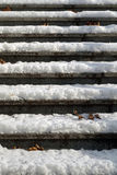 Empty snowy slippery stairway - close up Royalty Free Stock Photos