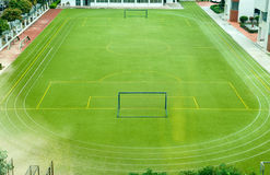 Empty soccer field. In a school Royalty Free Stock Images