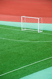 Empty soccer field. With goal posts and light poles Stock Photography