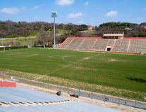 Empty Soccer Field. Empty stands at a soccer field Royalty Free Stock Photos