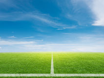 Empty soccer field with blue sky. 3d rendering empty soccer field with blue sky background Stock Photos