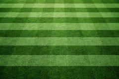 Empty soccer field cross pattern background. Sunny green empty soccer or football grass field cross pattern background. Selective focus used Stock Image