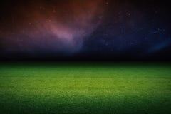 Empty soccer field. 3d rendering empty soccer field at night Royalty Free Stock Image