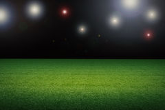 Empty soccer field. 3d rendering empty soccer field with stadium at night Stock Photo