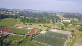 Empty soccer field from the sky. Aerial shot stock video