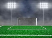 Empty Soccer Field and Spotlight with Smoke. Background Royalty Free Stock Photo