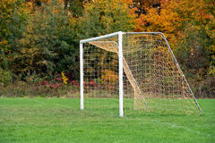 Empty soccer goal net. On playing field with autumn trees Royalty Free Stock Image