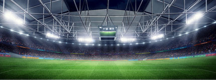Empty soccer stadium 3D in light rays at night render. Lights at night and stadium 3d render Stock Images