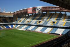 Free Empty Soccer Stadium In The City Of La Coruña In Galicia North Of Spain Stock Photos - 108602893
