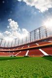 Empty soccer stadium in sunlight. 3drender stock images