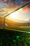 Empty soccer stadium in sunlight. 3drender stock photography