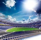 Empty soccer stadium in sunlight. 3drender stock image