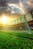 Empty soccer stadium in sunlight. 3drender royalty free stock photo