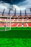 Empty soccer stadium in sunlight. 3drender stock photo