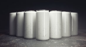 Empty soda cans front Royalty Free Stock Images