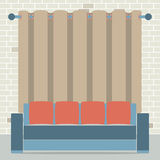 Empty Sofa In Front Of Brown Curtain And Brick Background Stock Photos